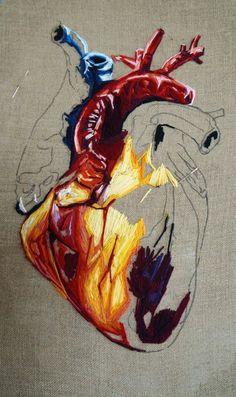 Learn Embroidery, Modern Embroidery, Hand Embroidery Patterns, Cross Stitch Embroidery, Embroidery Designs, Anatomy Art, Ancient Art, Textile Art, Fiber Art
