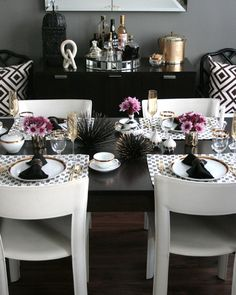 Erika Brechtel - dining rooms - Ralph Lauren - Mombasa Mist - Jonathan Adler Futura Salt & Pepper Shakers, Ballard Designs Macau Chair, Target Metal Urchin Wall Decor,