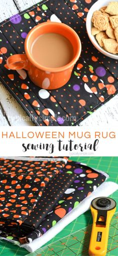 This Halloween Mug Rug sewing tutorial is a fun project to make using fabric scraps! Halloween Fabric Crafts, Halloween Sewing Projects, Halloween Quilts, Diy Sewing Projects, Sewing Projects For Beginners, Sewing Ideas, Sewing Diy, Free Sewing, Sewing Hacks