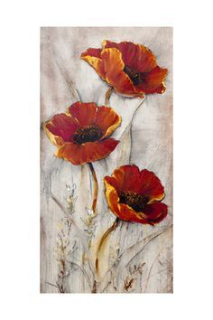 Red Poppies on Taupe II by Timothy O'Toole art print Les coquelicots rouges sur taupe II de Timothy O'Tope; Abstract Flowers, Watercolor Flowers, Watercolor Paintings, Painting & Drawing, Poppies Painting, Flower Paintings, Painting Abstract, Easy Flower Painting, Flower Art