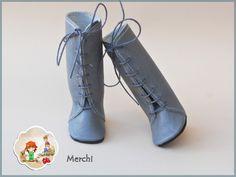 Botas altas de cordones gris