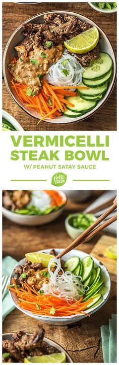 Easy Beef Rice (Vermicelli) Noodle Bowls with Carrots, Cucumbers, and Peanut Sauce | More gluten free steak recipes at hellofresh.com