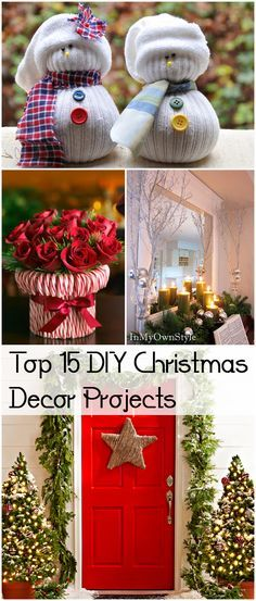 Top 15 DIY Christmas Decorations and Projects. Fun Christmas decor Projects, ideas and tutorials.