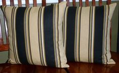 Accent Throw Pillow Covers  Black and Tan Stripe  Two by berly731, $39.99