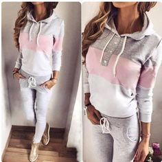 Fitness clothes Comfort and style Tracksuit sports wear - gray , baby pink and white Sport Outfits, Casual Outfits, Cute Outfits, Fashion Outfits, Sport Fashion, Fitness Fashion, Womens Fashion, Jogging Style, Cooler Look