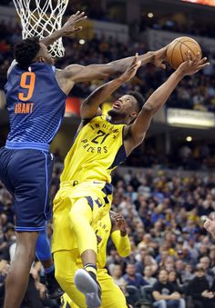 Oklahoma City Thunder forward Jerami Grant (9) blocks the shot of Indiana  Pacers forward b687198b4