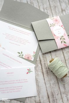 Elegant gray pocket wedding invitation with pink floral belly band | spring, fall or winter wedding ideas Wedding Prep, Wedding Games, Wedding Ideas, Beautiful Wedding Invitations, Wedding Stationary, Invitation Design, Invitation Cards, On Your Wedding Day, Dream Wedding