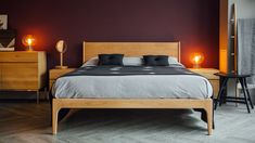 The Camden handmade bed is a contemporary take on a classic mid-century style, made in a range of solid hardwoods in Sheffield UK. Timber Beds, Wood Beds, Bed Company, Mid Century Style, Camden, Solid Oak, Sweet Dreams, Hardwood, Bedrooms