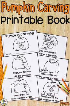 Your kids are sure to love reading this How To Carve A Pumpkin Book before you creating jack-o-lanterns this fall. It's a fun way for your beginning readers to work on concepts of print and sequence too. They can work on holding the book correctly, turning the pages, following the text from left to right as your read, and much more. Click on the picture to get this free printable book! #howtocarveapumpkin #printablebook #preschool #preschoolers #freeprintablebook