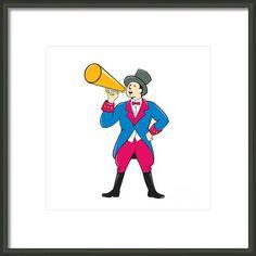 Circus Ringmaster Bullhorn Standing Cartoon Framed Print By Aloysius Patrimonio