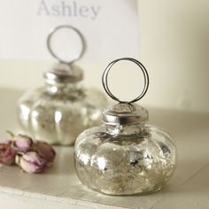 I love antique mercury glass, these are charming little place holders!