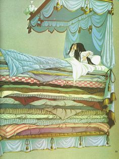 The Princess and the Pea. From my favorite childhood fairy tale book: Dean's A Book of Fairy Tales. Illustrations by Janet & Anne Grahame Johnstone