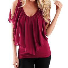 SUNNOW®Sexy low-cut  Casual Short Sleeve Slim  Sleeveless Chiffon Tops Blouse Summer