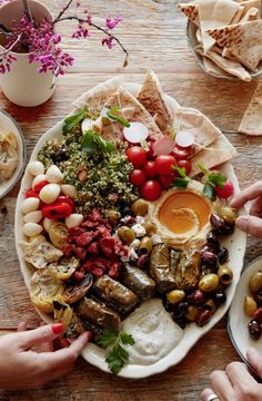 Vegetarian Easter Mezze party happening over on www.whatsgabycooking.com