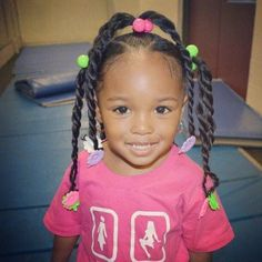 Cute hairstyle for little girl - Ponytails with twists