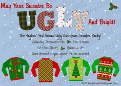 Ugly Sweater Party Invitation Wording Unique Pin On Party Ideas Holiday Candy, Holiday Fun, Christmas Ideas, Family Holiday, Holiday Ideas, Christmas Time, Christmas Decor, Christmas Party Invitation Wording, Birthday Party Invitations