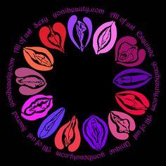 """Yoni Circle Sticker to celebrate yoni diversity and beauty, 5"""" diameter, vinyl"""