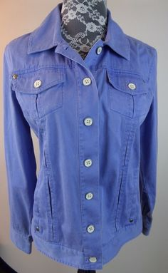 Chico's Women Light Jacket Thin Corduroy Coat Sz 0 Light Blue Purple #Chicos #Jacket