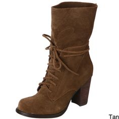 @Overstock - These high-fashion suede boots are made for the woman who knows what she wants. Made of soft leather suede, the boots feature lace-up styling and three-inch heels for the most fashion-forward looks, whether for casual or dressy attire.http://www.overstock.com/Clothing-Shoes/MIA-Womens-Paulette-Suede-Boots/6228650/product.html?CID=214117 $52.49