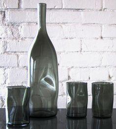Crinkle Glass Bottle & 4 Tumblers