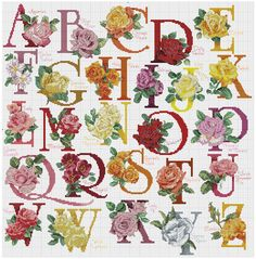 Cross stitch / Point de croix / Punto cruz / Punto croce The Rose Alphabet / abecedaire / abecedario / alfabeto