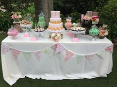 Sweet treats buffet...nice idea for birthdays, picnics, and many more parties.   You just need to change the colors and the buffet treats to fit the party. For example for a bday party youmight want treats that would work for a make your own sundae buffet but for a picnic you might want dishes of brownies or cookies ( treats that you can eat easily while socializing with all the guests)     Our pink, mint, and gold vintage des