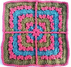 This is a fun-to-crochet square pattern to add to all your sampler afghans. Would also look stunning as a full afghan as all the window panes connect in pattern. Basic crochet stitches plus double crochet clusters and a few front-post trebles are all you need to complete this solid square. Works up quickly and color changes give a whole new look to each block.