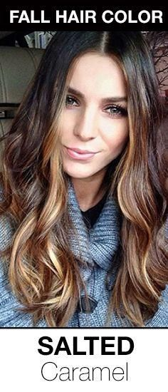 Gorgeous fall hair color for brunettes! Brown hair with salted caramel highlights. I likey