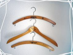 3 vintage wooden Hanger for Skirts and Pants.
