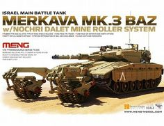 The Meng Models Israeli Merkava Mk.3 BAZ with Mine Roller Model Kit in 1/35 scale from the plastic tank model range accurately recreates the real life Israeli main battle tank equipped with mine clearing equipment.  This Meng Models tank model requires paint and glue to complete.