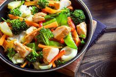 Schlank ohne Sport: An Tag 6 Fleisch mit Gemüse.