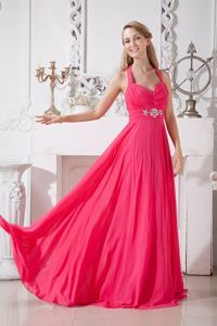 Halter Top Empire Floor Length Hot Pink Homecoming Dress with Beading