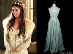In the sixth and fifteenth episodes Lady Kenna wears this stunning Vintage 1930s Embroidered Gown. In the sixth episode she wore it with Harrison Morgan vest, Blair Nadeau Millinery headpiece and Vanessa Mooney necklace.