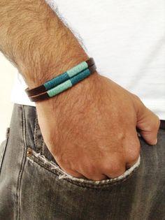 Men's bracelet, Unisex leather cuff, Bohemian Handmade Brown Leather Wristband, Wax cord, Men's leather color bracelet