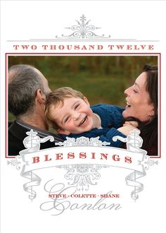 Blessings Scroll Design Christmas Photo Card by Invitations & Beyond