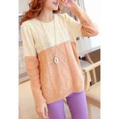 Sweet Style Scoop Neck Argyle Pattern Splicing Long Sleeve Sweater