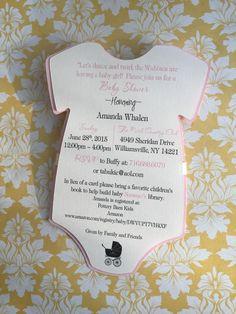 50 rosa mono de bebé ducha invitación 50 por PaperDivaInvitations