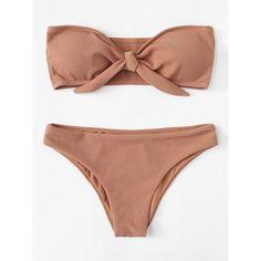Knot Front Bikini Set BROWN