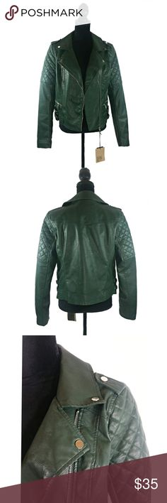 NWT Ci Sono Dark Green Faux Leather Jacket Dark Green Ci Sono faux leather jacket with quilted shoulder pads. Size Large. Ci Sono Jackets & Coats