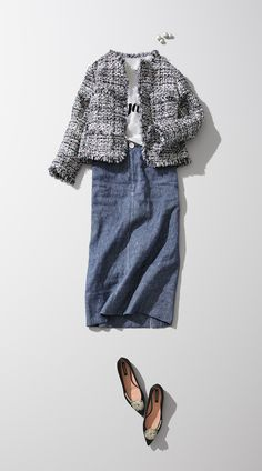 Pin on ファッションアイデア Modest Outfits, Classy Outfits, Casual Outfits, Fashion D, Fashion Outfits, Womens Fashion, Skirt Fashion, Parisian Chic Style, Feminine Style