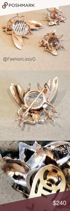 """TRIFARI STERLING CLEAR BELLY BUG AND EARRINGS Charming clear belly beetle/bug with matching earrings. I cannot find the Trtifari mark on the brooch. Only sterling. However, see photos including patent.The clip earrings are marked Trifari.  They have tiny red crystals eyes! The """"Beetle"""" is 1 ½ inches square. Trifari Jewelry Brooches"""