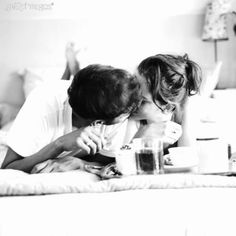 sharing sweet kisses and breakfast in bed together❤