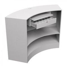Balcão Caixa Curvo em MDF Branco - 150cm                                                                                                                                                                                 Mais