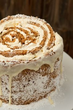 Dessert for a holiday party? No problem. Try this easy pumpkin roll white chocolate cake recipe! http://ohsweetbasil.com
