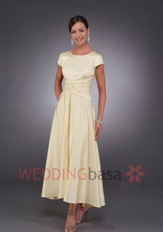 Daffodil Short Sleeves Ankle-length Chiffon Summer Elegant Mother Of The Bride Dress