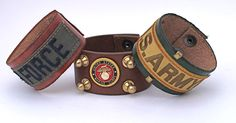 """I've made this leather cuffs to show love to our troops! Whether it's the Army, Navy, Marines or Air Force you can find your favorite branch by clicking this link then look under the """"soldier series"""" tab!   Stack em' however you like : - )  Custom sizes and orders are available"""