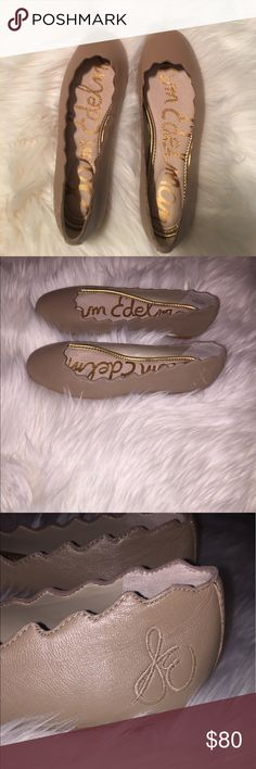 Sam Edelman Scalloped Flats Product Information Scalloped Ballet Flat Special Details: Scalloped Top Line, Padded Sock Closure: Slip-On Toe: Rounded Toe Material: Leather, Suede, or Brahma Hair Insole: Padded Leather Insole Sam Edelman Shoes Flats & Loafers