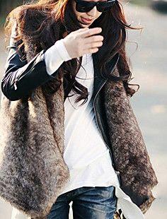 Sleeveless Collarless Collar Evening/ Career Faux Fur Vest (... – USD $ 29.99