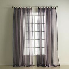 One Panel Grace Purple Solid Sheer Curtain With Beads Usd 19 99