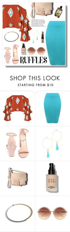 """Add Some Flair: Ruffled Top"" by nadia-gadelmawla ❤ liked on Polyvore featuring Mochi, WearAll, Steve Madden, Vanessa Mooney, Bobbi Brown Cosmetics, Vita Fede, Garance Doré, Linda Farrow and ruffledtop"